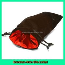 Gifts Packed Use Satin Lining Black Drawstring Velvet Bag