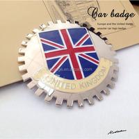Custom UK flag car grill badge,Metal car badges emblems,Custom chrome car emblems