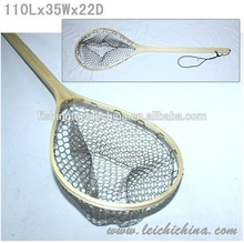 hot sale in stock Wooden frame with extra long handle with rubber net fly fishing landing net