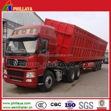 3 or 2 axles side tippings steel dump tractor hydraulic lifting trailer /tipper truck semi trailers sie dump dumper factory