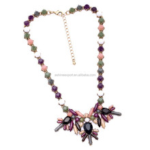 Latest design Fashion statement necklace mixture color round&waterdrop resin metal alloy chain necklace
