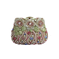 Women elegant flower crystal clutch evening bags cocktail party handbags