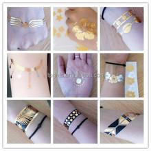 Fashion Jewelry Custom Gold Metallic Temporary Tattoo Glow In The Dark Tattoo