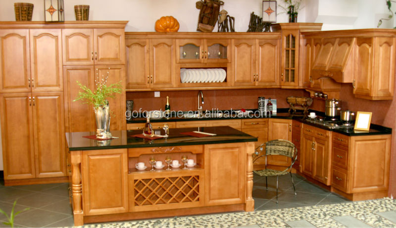 Red beech solid wood kitchen cabinet units prefab kitchen for Beech wood kitchen cabinets
