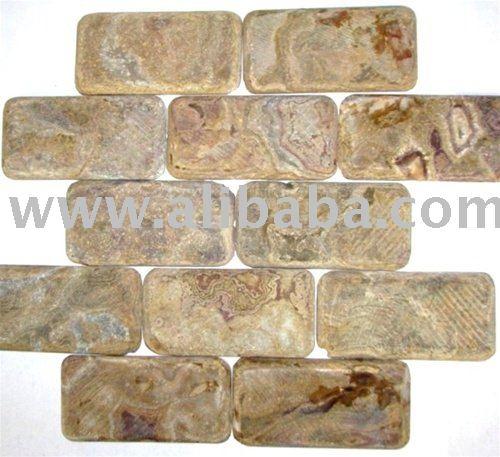 multi brown onyx tumbled subway tile kitchen backsplash