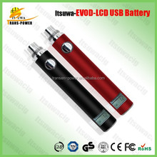 Best seller 2015 Itsuwa USB side charge evod battery LCD display