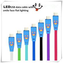 Creative idea smile face shape usb cable with LED light