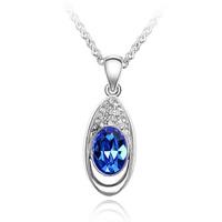 High Quality Agenuine Austrian Crystal Jewelry Sapphire Necklace