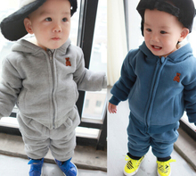S11615A 2015 wholesale fashion hot sale new autumn winter south korea boy girl cotton thicken set