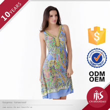 High Fashion Neck Designs Printed V Neck Picture For Girls Dresses