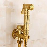 Bathroom Toilet Hand Held Shattaf Bidet Diaper Sprayer Kit Wall Mount Golden Toilet Flusher Bidet Sprayer Set