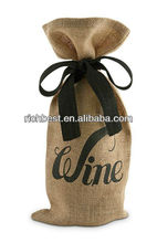 printed drawstring jute wine bag