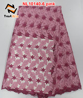 believewin african french net lace tulle material of NL10140-6 in pink