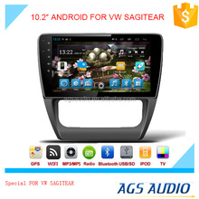 New 10.2 inch Android 2015 Latest Android car GPS navigation manufacturer for VW SAGITEAR