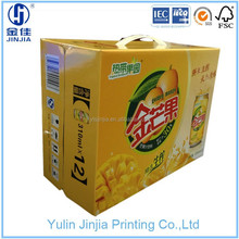 paper corrugated box is sofe drinks packing with plastic handle