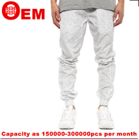 mens nylon white all over printing cuffed buttoms joggers pants made in china