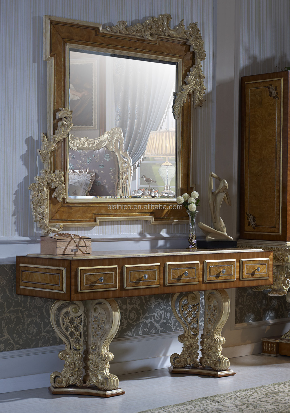 Bisini luxus holz runden esstisch luxus barock esszimmer for Esstisch barock holz