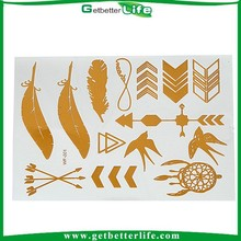 2015 Getbetterlife Gold Silver Flash Metallic Temporary Tattoo Supply
