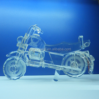 Cut and Polished Optical Crystal Motorcycle Model Souvenir