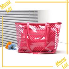 2015 ladies fashion outdoor waterproof transparent pvc tote beach bag