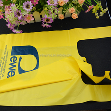 poly folding vest bag with hang pouch , custom printed plastic t shirt carrier bags