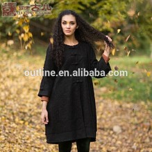 la pequeña orden al por mayor de diseño étnico florales de encaje negro largo abrigos de lana para damas