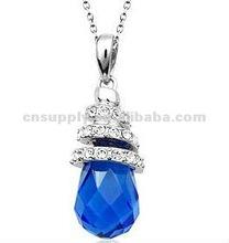 small size blues tear Austrian crystal necklace