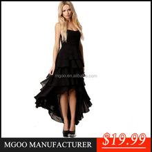 MGOO Evening Dress 2015 Newest Black Chiffon Princess Party Dress Strapless Maxi Ruffles Irregular Prom Dancing Dress