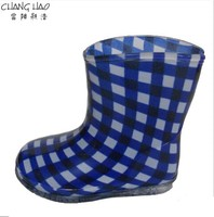 Children's PVC Welly,New Design Waterproof Rain Boot, White And Bule Lined Plaid Printing With Transparent Sole