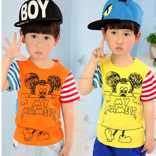 2015 new arrival children's print t shirts ,lovely cotton clothes for baby boy wholesale