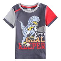 2-6Y (C5798) 2015 Newest models nova factory kids wear cotton baby apllique dinosaur t shirts boys top