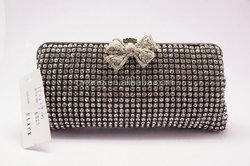 Gold silver soft diamond crystal bridal wedding bags with stain lining onsale