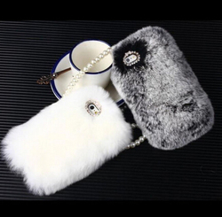 Super Deluxe Luxury Bling Warm Soft Rabbit Fur Hair Back Mobile Phone Case Cover