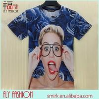 DK086# new fashion funny Miley Cyrus t shirt wholesale character printed 3d t shirt