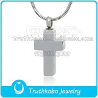 High Polish Silver Christianity Cross Shiny Pendant Threaded Closure Opening Religious Cremation Jewelry Pendant