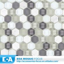 Hexagonal / Sexangle mármore branco mosaico de pedra misturada varanda telhas da parede