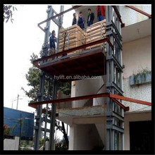 Guider Rail Type hydraulic lift used in industrial workshop, restaurant, wine shop