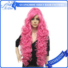 Curly Wavy Rose Red Outstanding Cosplay Wigs Long with Several Layers on top