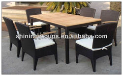 C237 Fashion Teak Wood Table Slab Dining Room Sets/ buffet restaurant furniture in cheap price