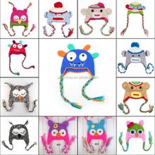 Baby owl hat/ children baby mouth monkey pattern hat/ handmade crochet caps & hats wholesale