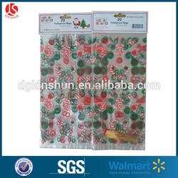 FDA test christmas print red santa claus & white snowflake gift cello bag