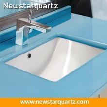 Quartz blue vanity countertop for lavatory