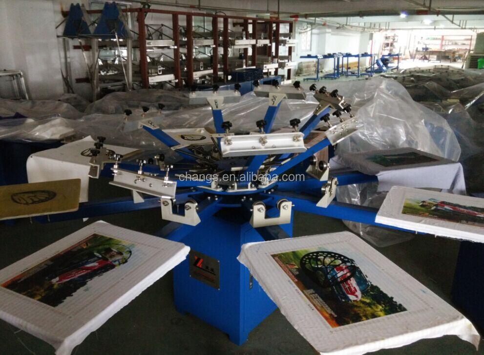Manual 8 color 8 station t shirt screen printing machine for Screen printing machine for t shirts for sale
