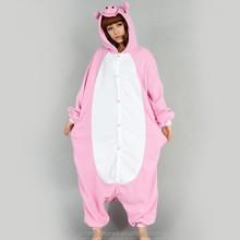 wholesale adult and kids cute flannel soft warm cosplay animal onesie pajamas pink pig onesie