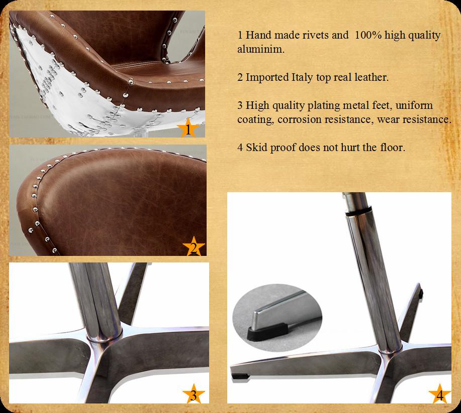 Aviator arne jacobsen aluminium spitfire vintage en cuir for Chaise de salon en cuir