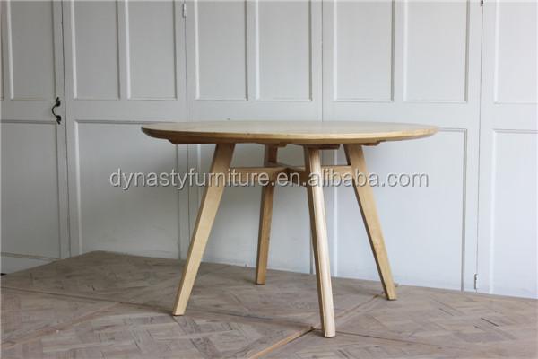 Redonda de madera reciclada natural vintage única mesa de comedor ...