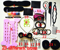 2015 hot sell women's hair accessories clips/bands/rollers/disk hair styling tools 23 types in one set for girl Christmas gift