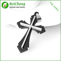 Stainless Steel double Jesus catholic crucifix
