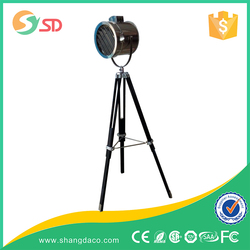high quality but not expensive iron tripod floor light with white fabric lantern shade