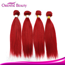 Hair accessories 100 percent red color virgin indian remy human hair weaving 3 bundles